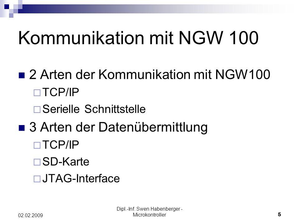 Dipl.-Inf. Swen Habenberger - Microkontroller5 02.02.2009 Kommunikation mit NGW 100 2 Arten der Kommunikation mit NGW100 TCP/IP Serielle Schnittstelle