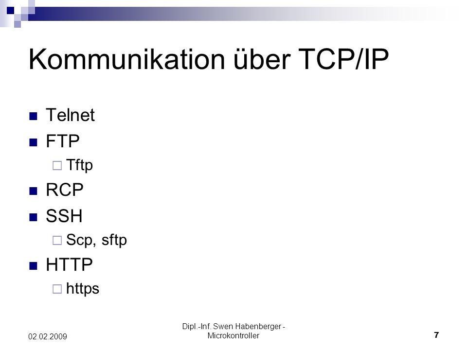 Dipl.-Inf. Swen Habenberger - Microkontroller7 02.02.2009 Kommunikation über TCP/IP Telnet FTP Tftp RCP SSH Scp, sftp HTTP https
