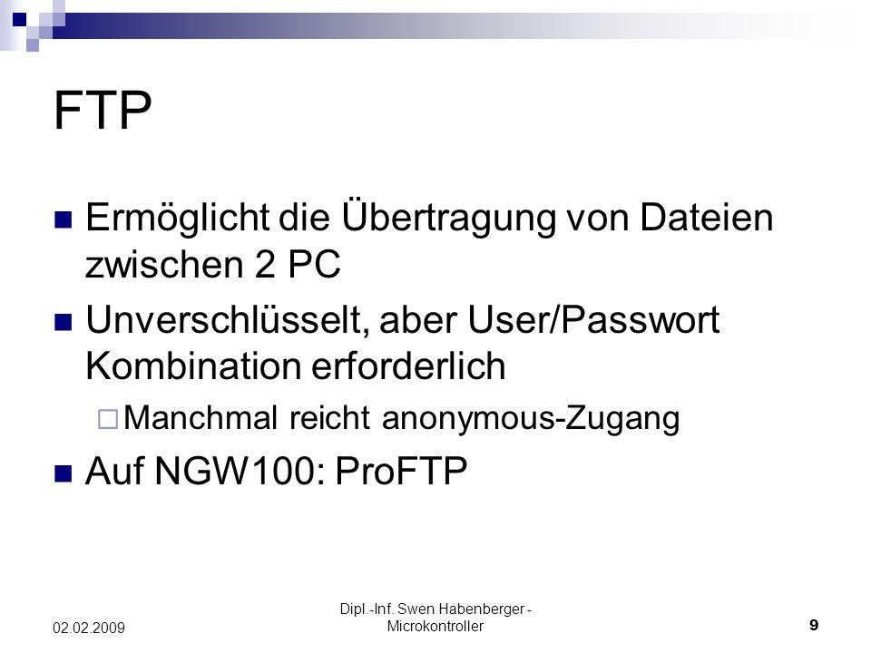 Dipl.-Inf. Swen Habenberger - Microkontroller9 02.02.2009 FTP Ermöglicht die Übertragung von Dateien zwischen 2 PC Unverschlüsselt, aber User/Passwort