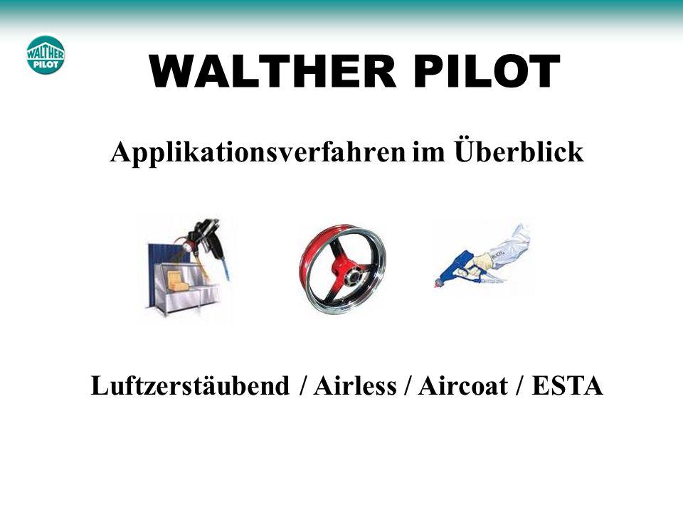 Grundsätzliche Unterscheidungen Airlesszerstäubung Airless Ohne elektrostatische Unterstützung Mit elektrostatischer Unterstützung Airless mit Luftunterstützung wie z.B.
