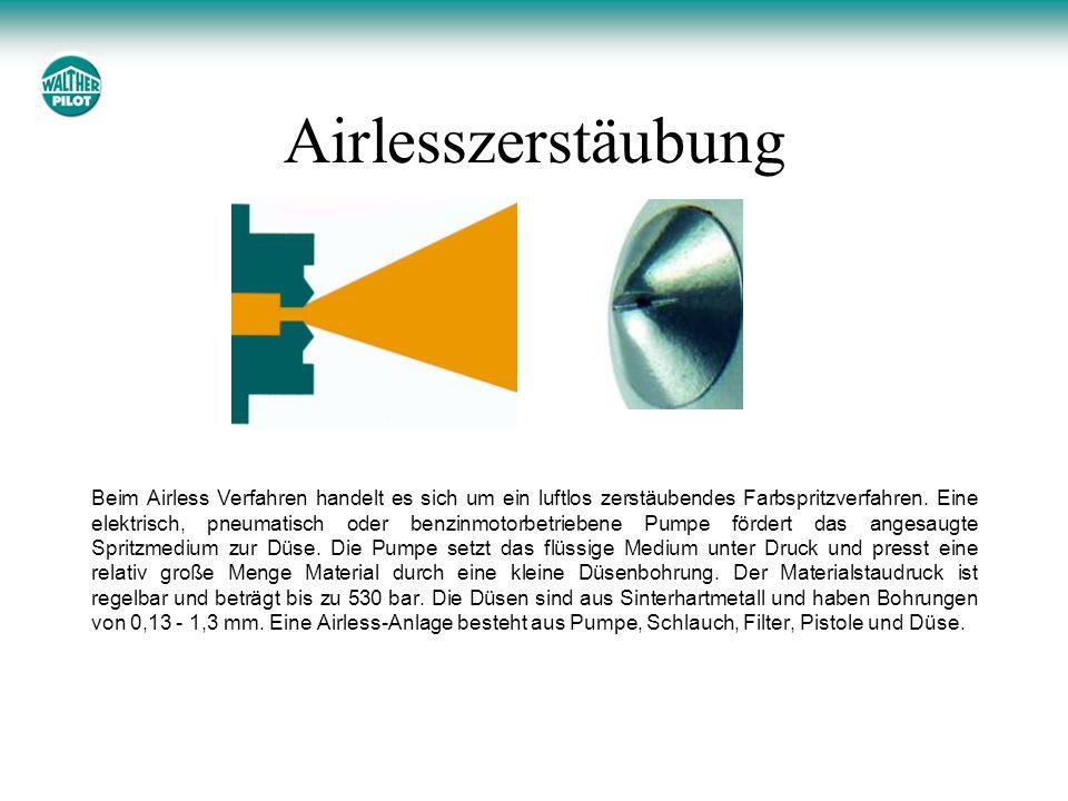 Airlesszerstäubung Beim Airless Verfahren handelt es sich um ein luftlos zerstäubendes Farbspritzverfahren. Eine elektrisch, pneumatisch oder benzinmo