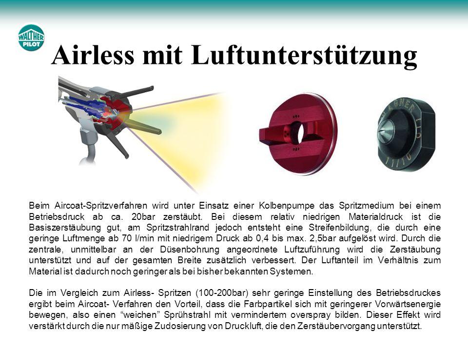 Beim Aircoat-Spritzverfahren wird unter Einsatz einer Kolbenpumpe das Spritzmedium bei einem Betriebsdruck ab ca. 20bar zerstäubt. Bei diesem relativ