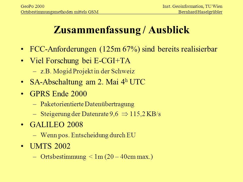 GeoPo 2000Inst. Geoinformation, TU Wien Ortsbestimmungsmethoden mittels GSMBernhard Haselgrübler Zusammenfassung / Ausblick FCC-Anforderungen (125m 67