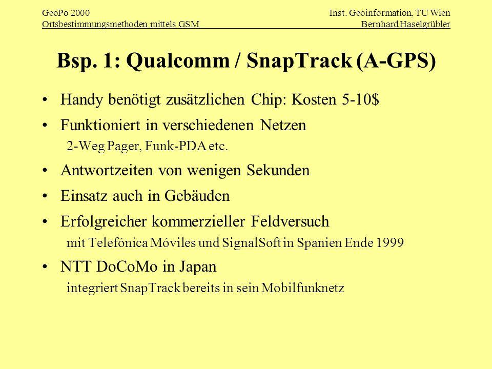 GeoPo 2000Inst. Geoinformation, TU Wien Ortsbestimmungsmethoden mittels GSMBernhard Haselgrübler Bsp. 1: Qualcomm / SnapTrack (A-GPS) Handy benötigt z