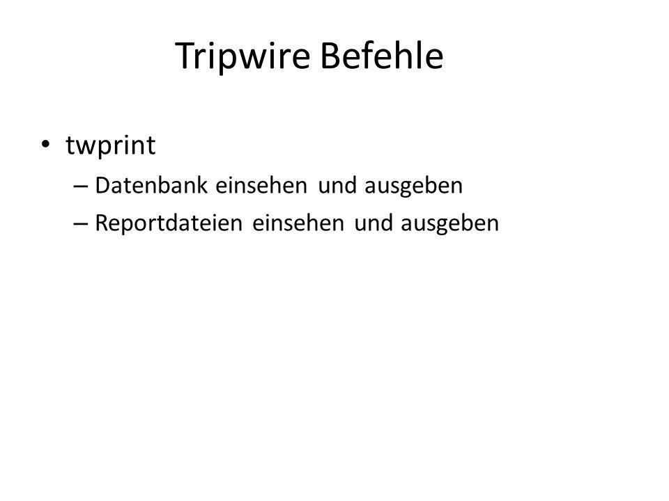 Tripwire Befehle twprint – Datenbank einsehen und ausgeben – Reportdateien einsehen und ausgeben