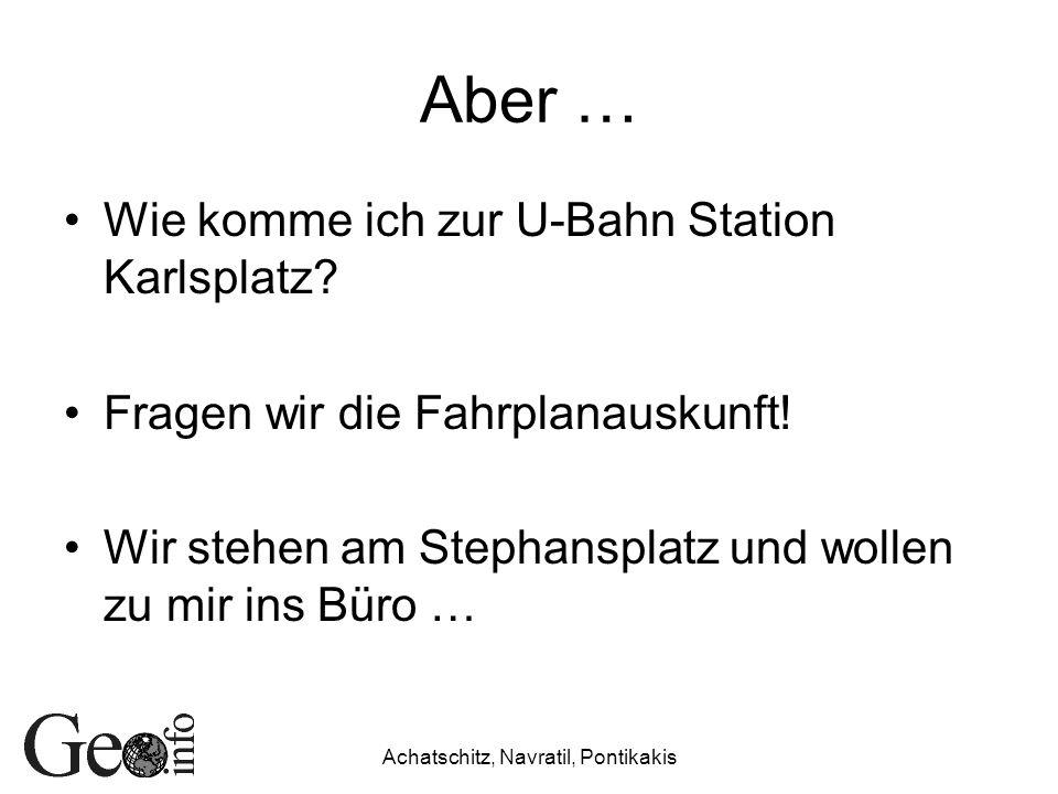 Aber … Wie komme ich zur U-Bahn Station Karlsplatz? Fragen wir die Fahrplanauskunft! Wir stehen am Stephansplatz und wollen zu mir ins Büro …