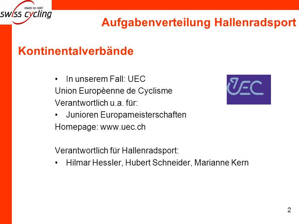 Aufgabenverteilung Hallenradsport 2 Kontinentalverbände In unserem Fall: UEC Union Europèenne de Cyclisme Verantwortlich u.a. für: Junioren Europameis