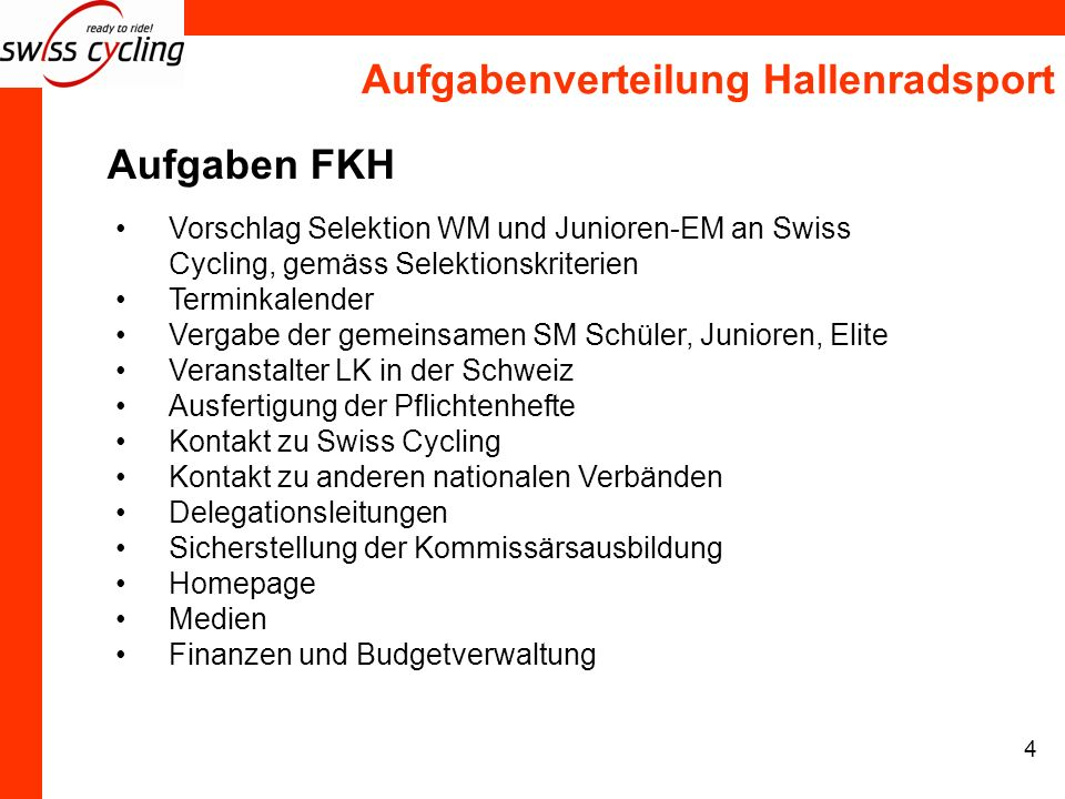 Aufgabenverteilung Hallenradsport 4 Aufgaben FKH Vorschlag Selektion WM und Junioren-EM an Swiss Cycling, gemäss Selektionskriterien Terminkalender Ve