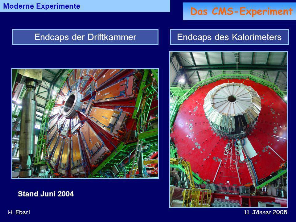 H. Eberl11. Jänner 2005 Moderne Experimente Endcaps des KalorimetersEndcaps der Driftkammer Stand Juni 2004 Das CMS-Experiment