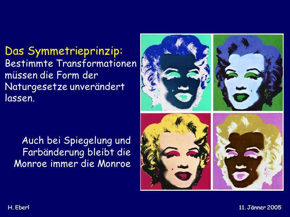 H. Eberl11. Jänner 2005 Das Symmetrieprinzip: Bestimmte Transformationen müssen die Form der Naturgesetze unverändert lassen. Auch bei Spiegelung und