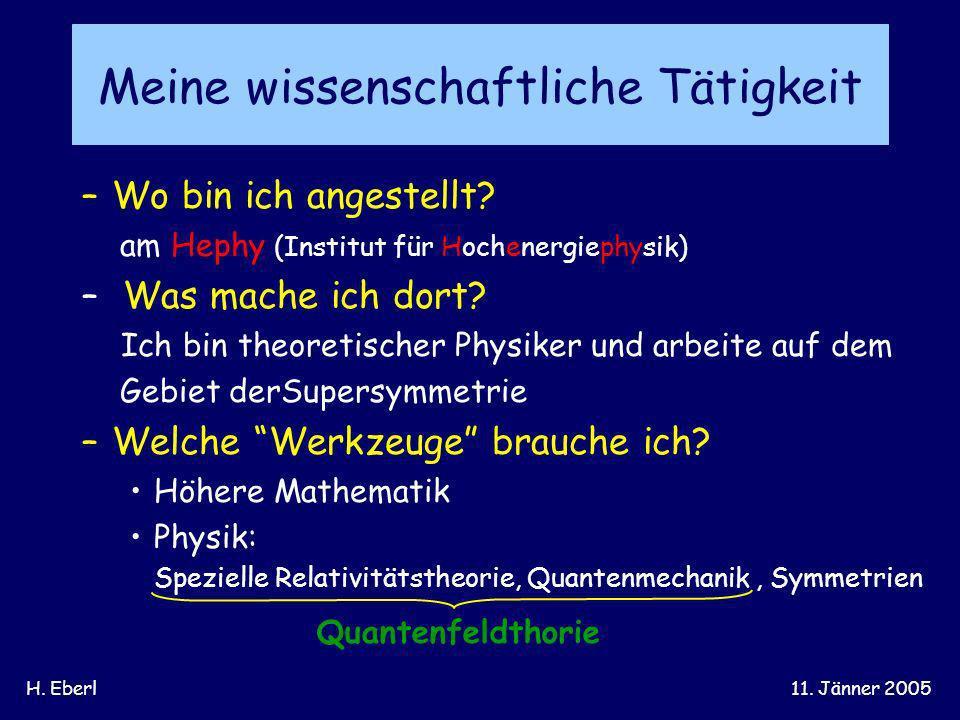 H. Eberl11. Jänner 2005 Meine wissenschaftliche Tätigkeit –Wo bin ich angestellt? am Hephy (Institut für Hochenergiephysik) – Was mache ich dort? Ich