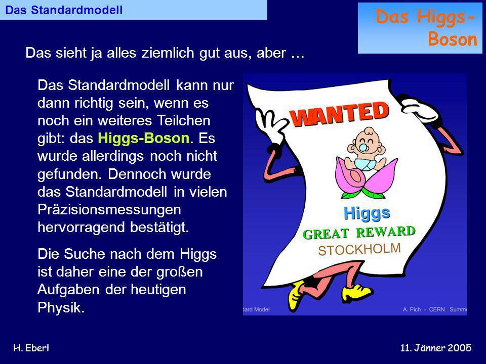 H. Eberl11. Jänner 2005 Das sieht ja alles ziemlich gut aus, aber … Das Standardmodell Das Higgs- Boson Das Standardmodell kann nur dann richtig sein,