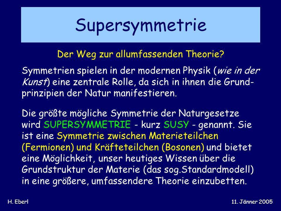H. Eberl11. Jänner 2005 Supersymmetrie Der Weg zur allumfassenden Theorie? Symmetrien spielen in der modernen Physik (wie in der Kunst) eine zentrale