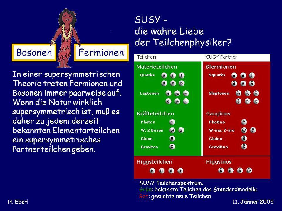 H. Eberl11. Jänner 2005 BosonenFermionen In einer supersymmetrischen Theorie treten Fermionen und Bosonen immer paarweise auf. Wenn die Natur wirklich