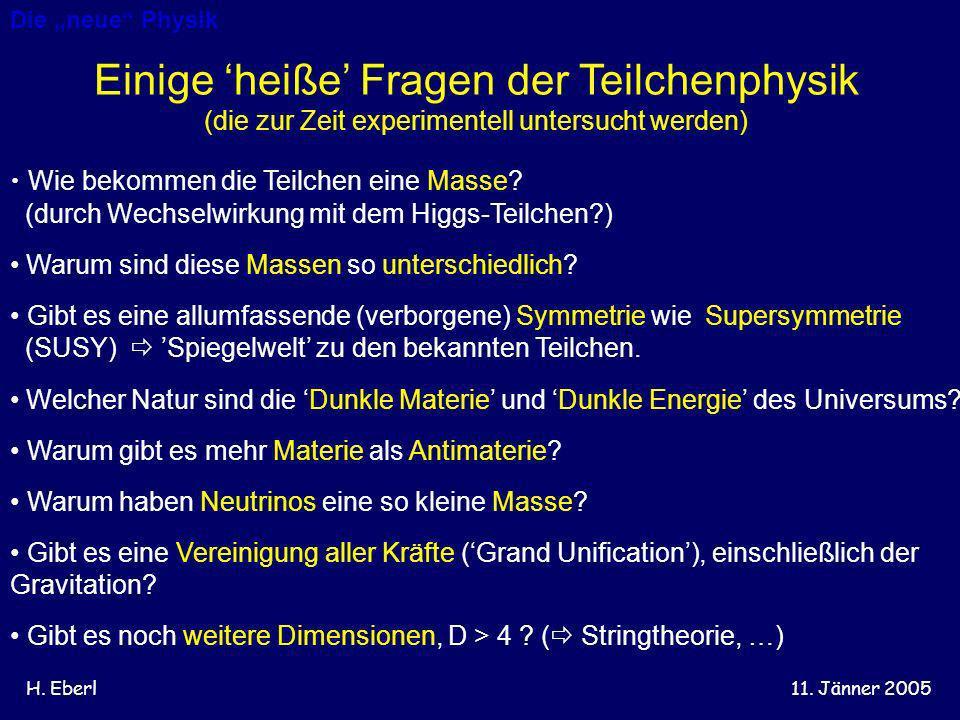 H. Eberl11. Jänner 2005 Einige heiße Fragen der Teilchenphysik (die zur Zeit experimentell untersucht werden) Wie bekommen die Teilchen eine Masse? (d