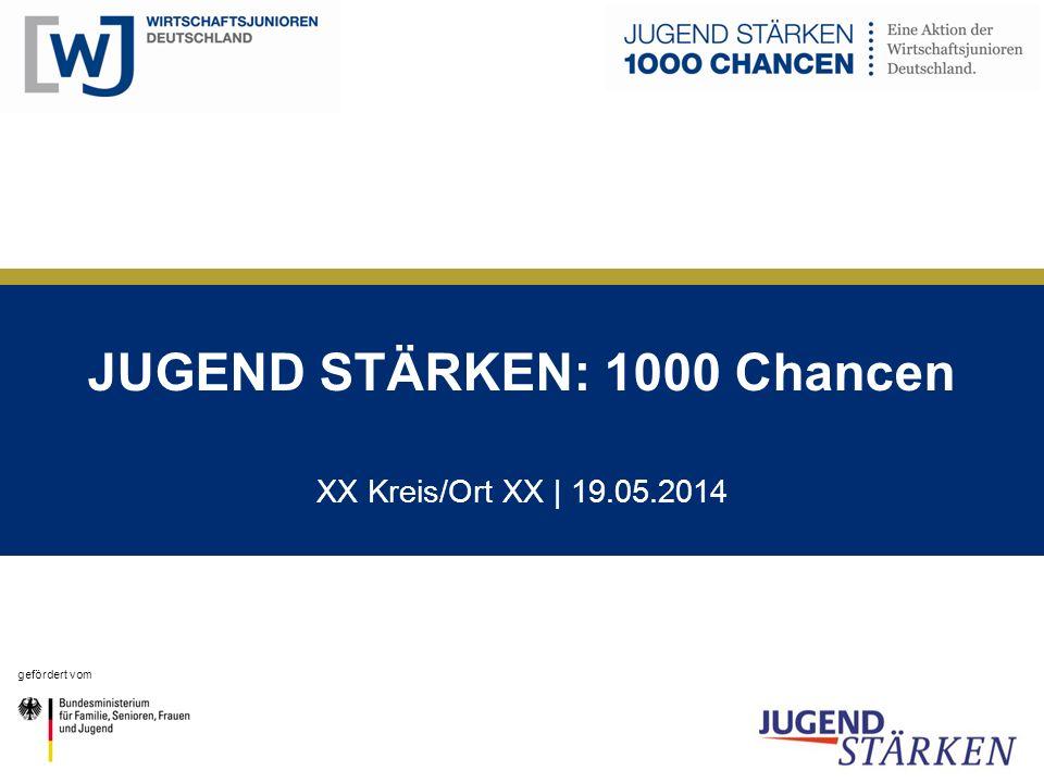 JUGEND STÄRKEN: 1000 Chancen XX Kreis/Ort XX | 19.05.2014 gefördert vom