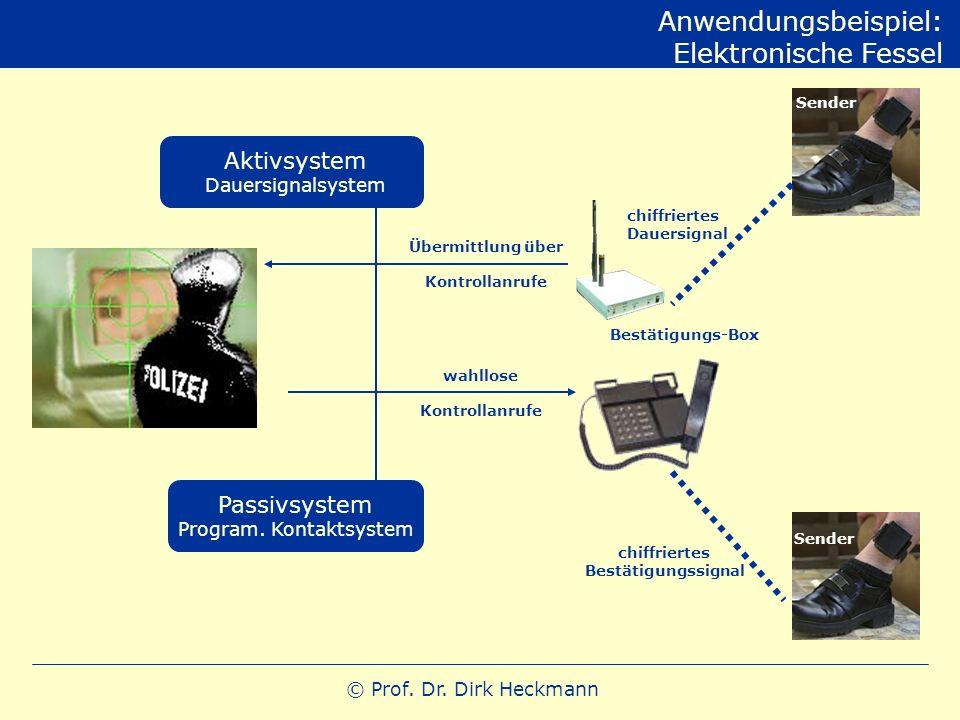 © Prof. Dr. Dirk Heckmann Anwendungsbeispiel: Elektronische Fessel Aktivsystem Dauersignalsystem Passivsystem Program. Kontaktsystem Bestätigungs-Box