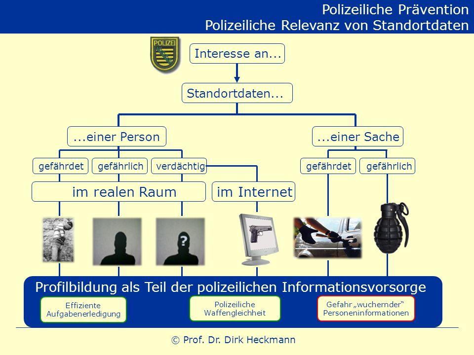 © Prof. Dr. Dirk Heckmann Interesse an... Standortdaten......einer Person...einer Sache gefährdetgefährlichverdächtig im realen Raum gefährdetgefährli