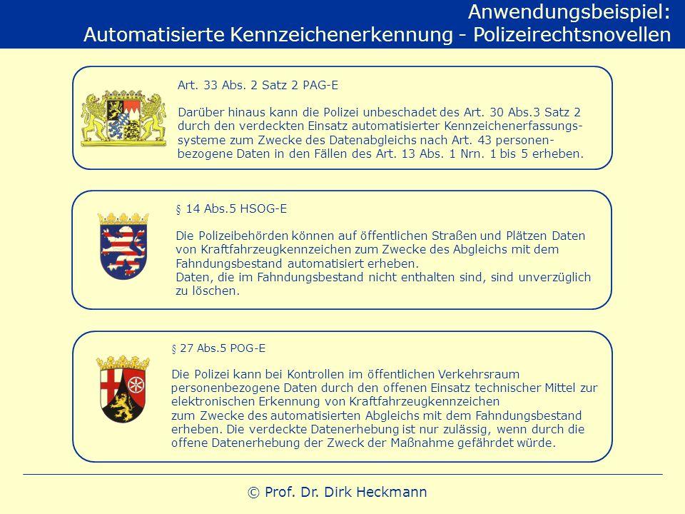 © Prof. Dr. Dirk Heckmann Anwendungsbeispiel: Automatisierte Kennzeichenerkennung - Polizeirechtsnovellen Art. 33 Abs. 2 Satz 2 PAG-E Darüber hinaus k