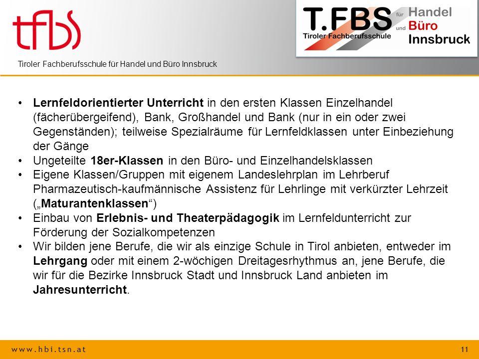 www.hbi.tsn.at 11 Tiroler Fachberufsschule für Handel und Büro Innsbruck Lernfeldorientierter Unterricht in den ersten Klassen Einzelhandel (fächerübe