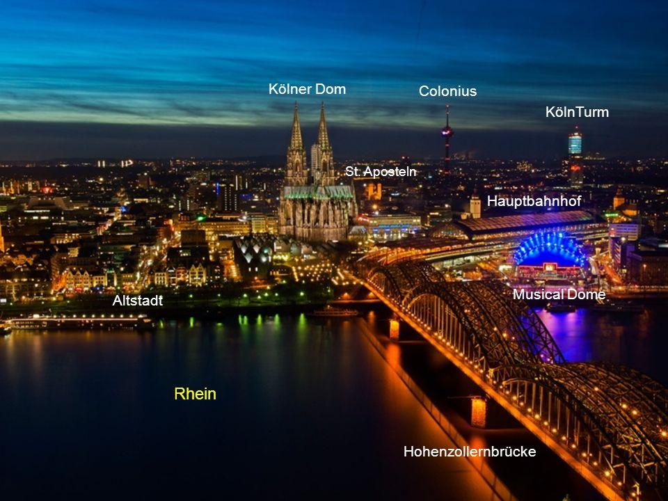 Rheinbogen von der Zoobrücke Messeturm Hohenzollernbrücke Kölner Dom