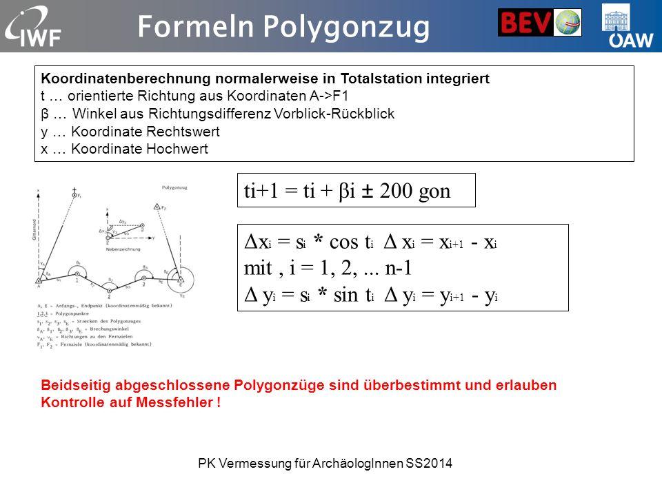 Formeln Polygonzug Koordinatenberechnung normalerweise in Totalstation integriert t … orientierte Richtung aus Koordinaten A->F1 β … Winkel aus Richtu