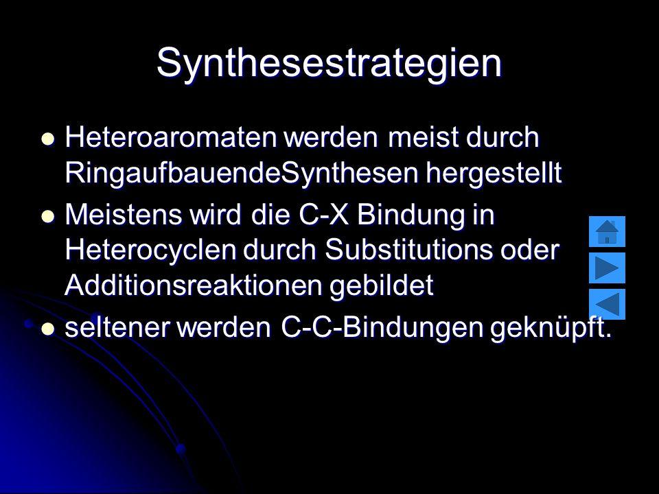 Synthesestrategien Heteroaromaten werden meist durch RingaufbauendeSynthesen hergestellt Heteroaromaten werden meist durch RingaufbauendeSynthesen her