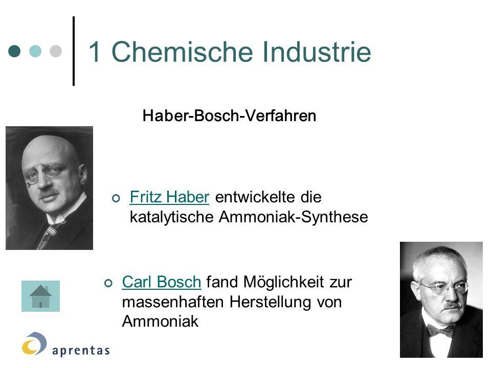 1 Chemische Industrie Fritz Haber entwickelte die katalytische Ammoniak-Synthese Fritz Haber Carl Bosch fand Möglichkeit zur massenhaften Herstellung von Ammoniak Carl Bosch Haber-Bosch-Verfahren
