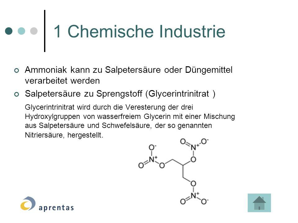 Ammoniak kann zu Salpetersäure oder Düngemittel verarbeitet werden Salpetersäure zu Sprengstoff (Glycerintrinitrat ) Glycerintrinitrat wird durch die Veresterung der drei Hydroxylgruppen von wasserfreiem Glycerin mit einer Mischung aus Salpetersäure und Schwefelsäure, der so genannten Nitriersäure, hergestellt.