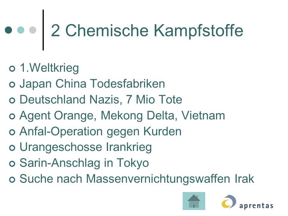 2 Chemische Kampfstoffe 1.Weltkrieg Japan China Todesfabriken Deutschland Nazis, 7 Mio Tote Agent Orange, Mekong Delta, Vietnam Anfal-Operation gegen Kurden Urangeschosse Irankrieg Sarin-Anschlag in Tokyo Suche nach Massenvernichtungswaffen Irak