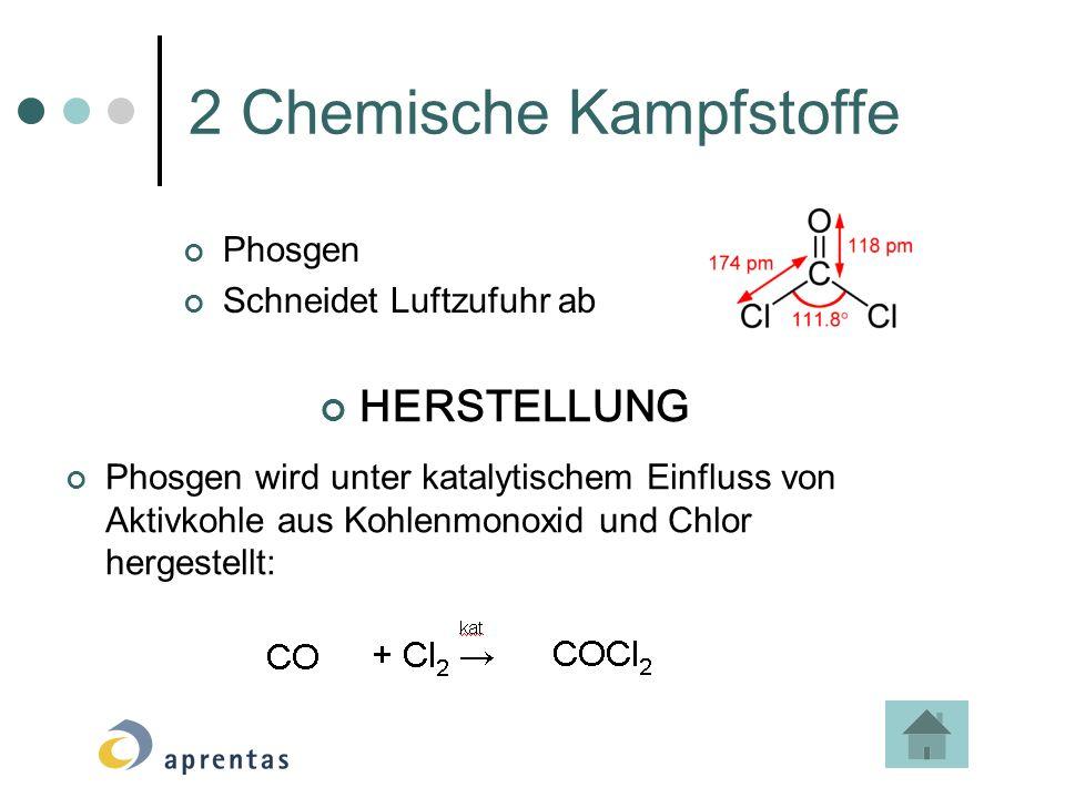 2 Chemische Kampfstoffe Phosgen Schneidet Luftzufuhr ab HERSTELLUNG Phosgen wird unter katalytischem Einfluss von Aktivkohle aus Kohlenmonoxid und Chlor hergestellt: