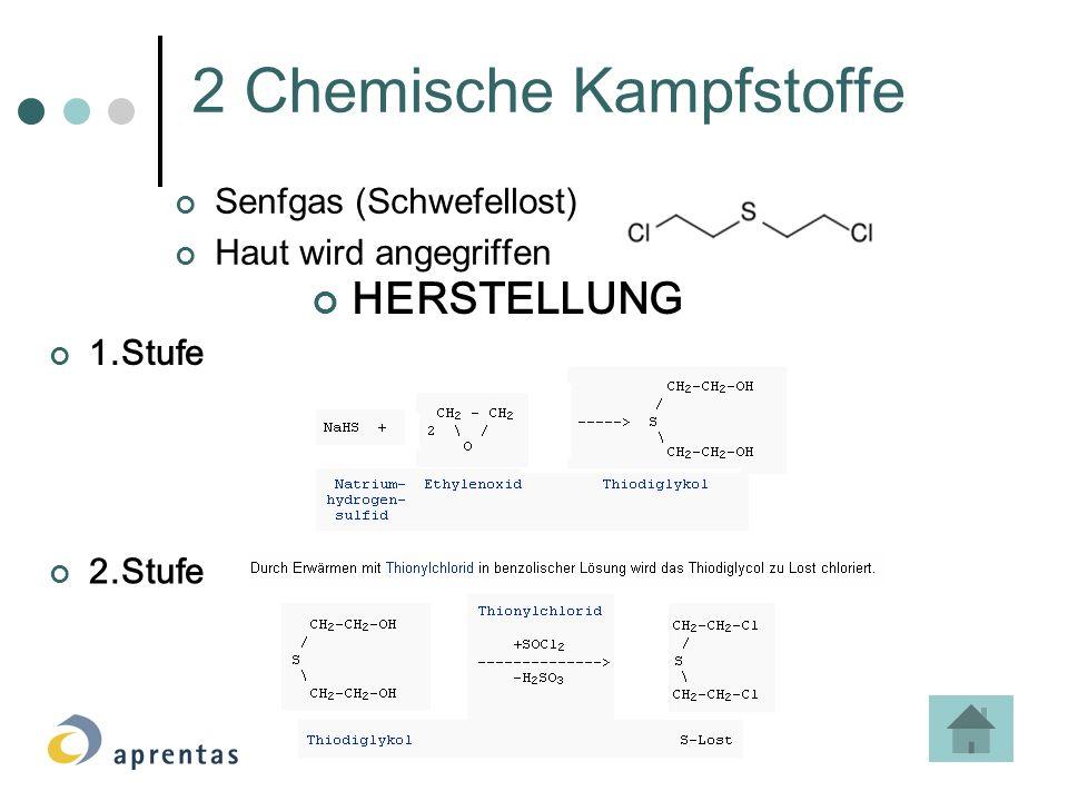 2 Chemische Kampfstoffe Senfgas (Schwefellost) Haut wird angegriffen HERSTELLUNG 1.Stufe 2.Stufe