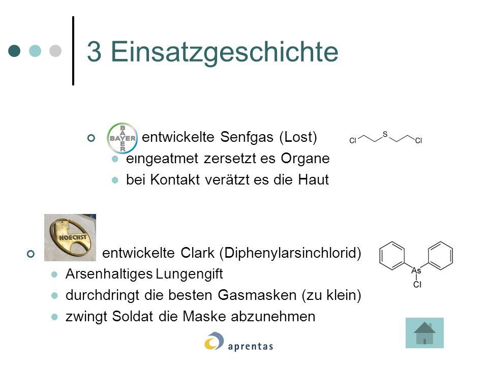 3 Einsatzgeschichte entwickelte Senfgas (Lost) eingeatmet zersetzt es Organe bei Kontakt verätzt es die Haut entwickelte Clark (Diphenylarsinchlorid)