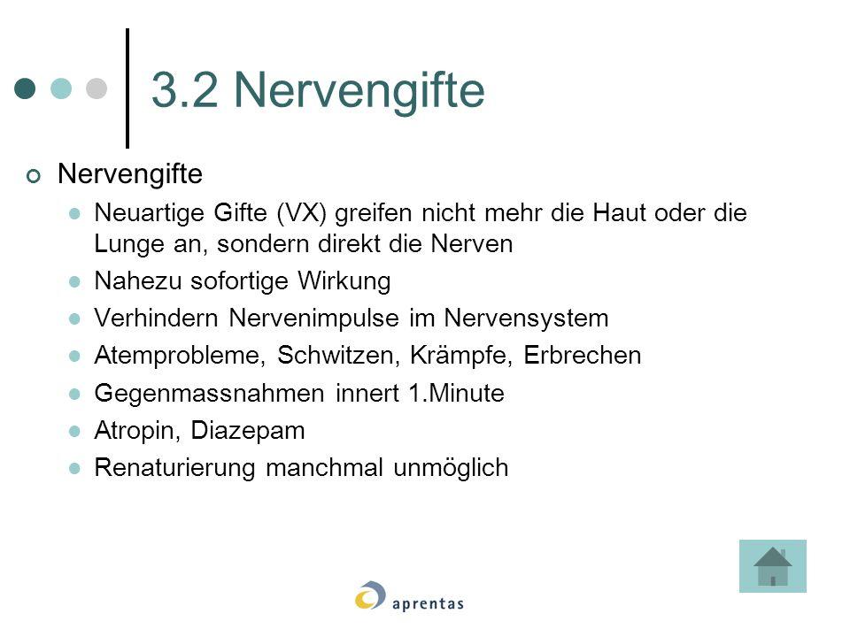 3.2 Nervengifte Nervengifte Neuartige Gifte (VX) greifen nicht mehr die Haut oder die Lunge an, sondern direkt die Nerven Nahezu sofortige Wirkung Ver