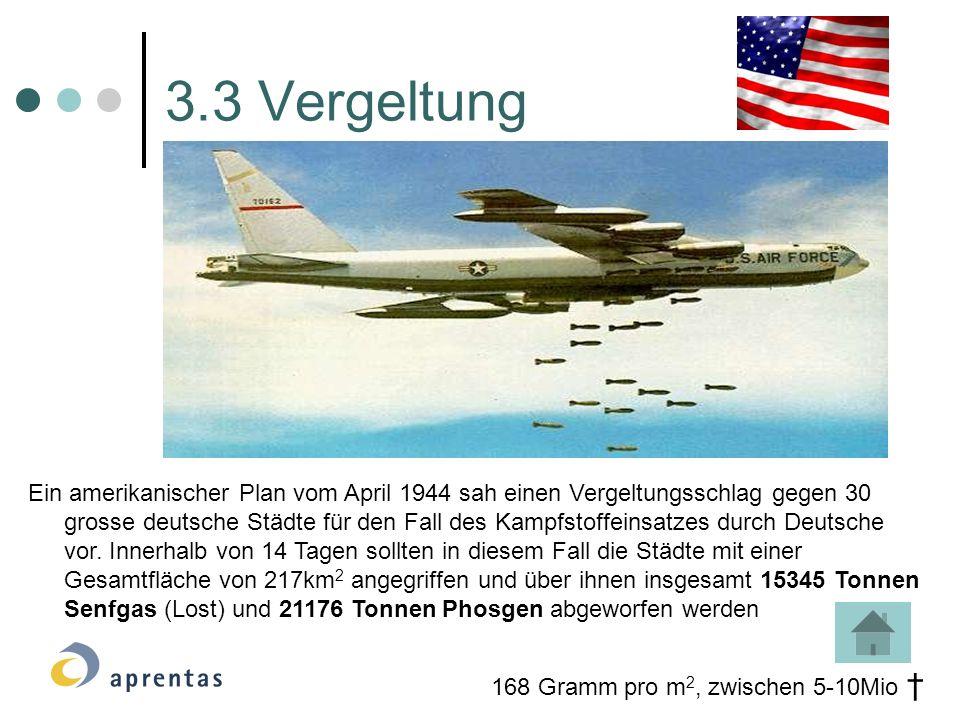 Ein amerikanischer Plan vom April 1944 sah einen Vergeltungsschlag gegen 30 grosse deutsche Städte für den Fall des Kampfstoffeinsatzes durch Deutsche