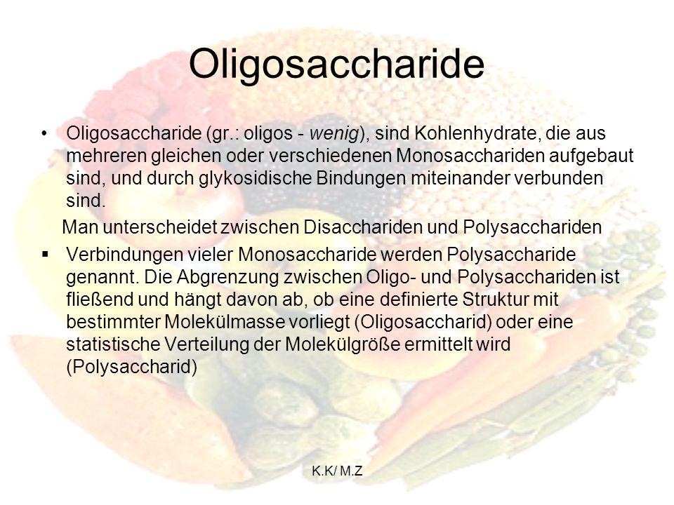 K.K/ M.Z Monosaccharide Alle Monosaccharide haben eine Kette aus mindestens drei Kohlenstoffatomen als Grundgerüst und weisen eine Carbonylgruppe sowie mindestens eine Hydroxylgruppe auf.