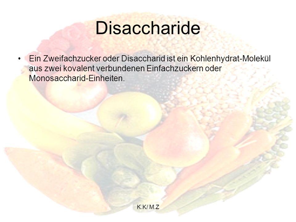 K.K/ M.Z Oligosaccharide Oligosaccharide (gr.: oligos - wenig), sind Kohlenhydrate, die aus mehreren gleichen oder verschiedenen Monosacchariden aufgebaut sind, und durch glykosidische Bindungen miteinander verbunden sind.