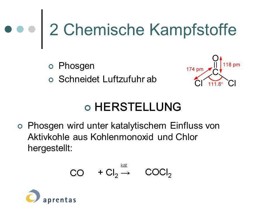 2 Chemische Kampfstoffe Phosgen Schneidet Luftzufuhr ab HERSTELLUNG Phosgen wird unter katalytischem Einfluss von Aktivkohle aus Kohlenmonoxid und Chl