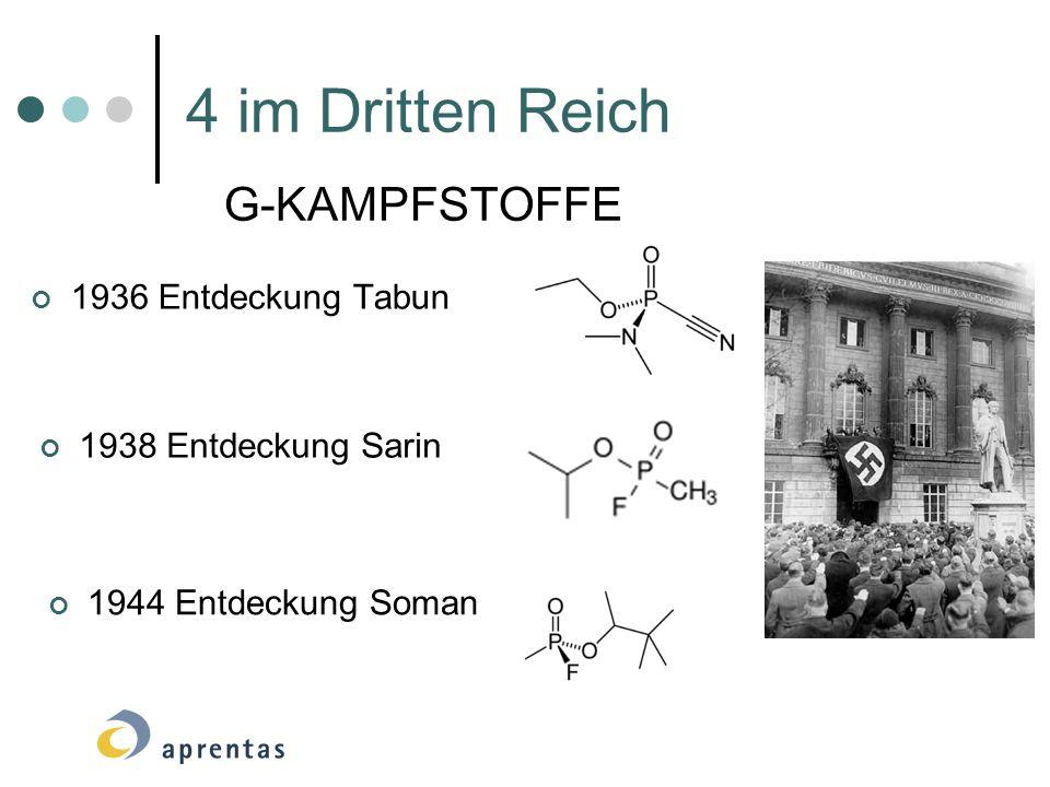 4 im Dritten Reich 1936 Entdeckung Tabun 1938 Entdeckung Sarin 1944 Entdeckung Soman G-KAMPFSTOFFE