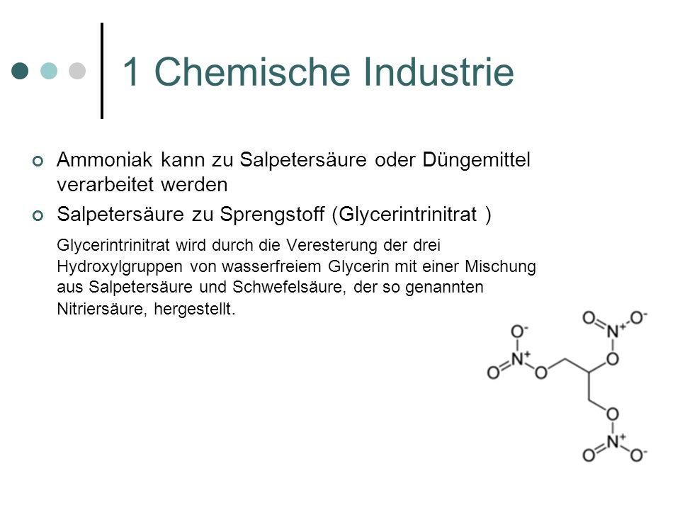 1 Chemische Industrie Ammoniak kann zu Salpetersäure oder Düngemittel verarbeitet werden Salpetersäure zu Sprengstoff (Glycerintrinitrat ) Glycerintri