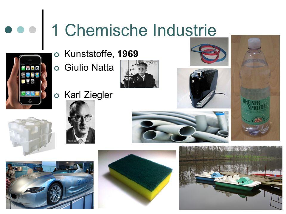 1 Chemische Industrie Aspirin als Schmerzmittel Pharmazeutische Wirksubstanzen Ende 19.Jahrhundert Chloralhydrat als Schlafmittel Ether als Narkotika