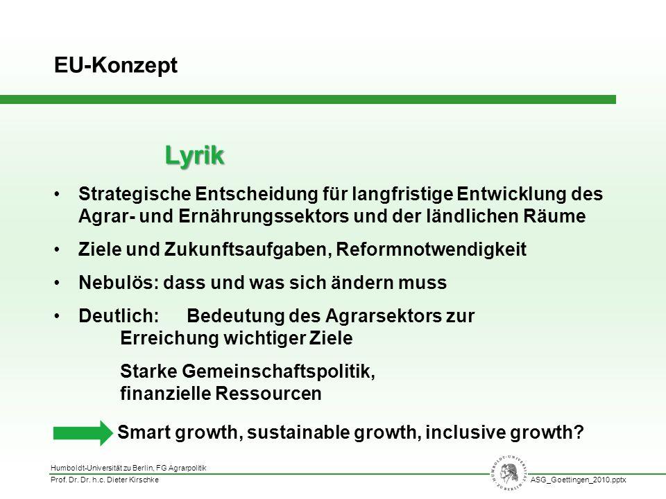 Humboldt-Universität zu Berlin, FG Agrarpolitik Prof. Dr. Dr. h.c. Dieter KirschkeASG_Goettingen_2010.pptx Strategische Entscheidung für langfristige