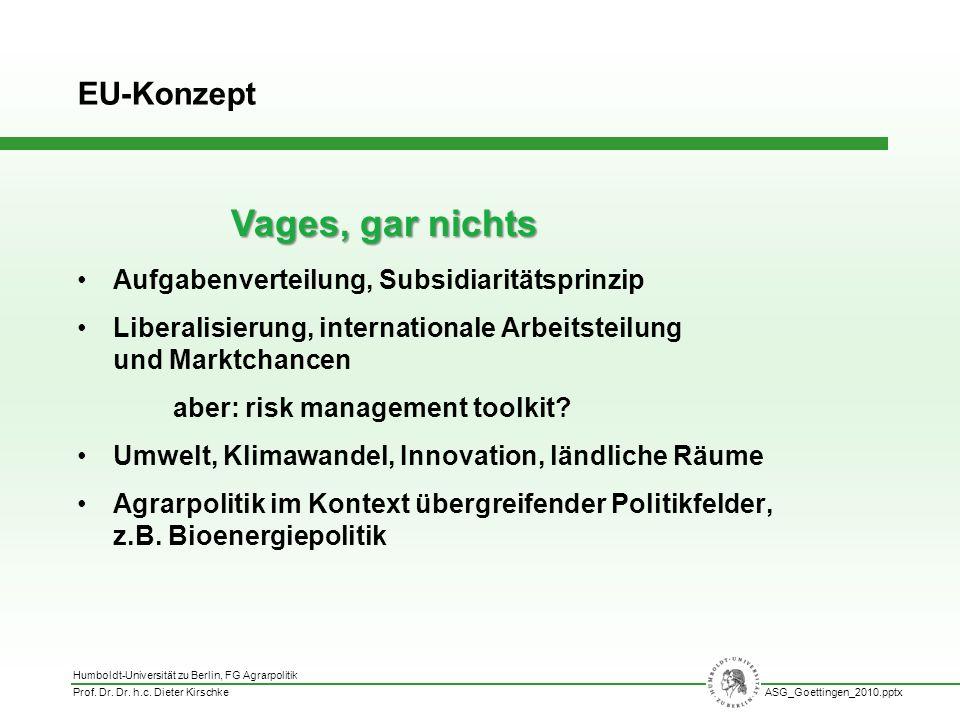 Humboldt-Universität zu Berlin, FG Agrarpolitik Prof. Dr. Dr. h.c. Dieter KirschkeASG_Goettingen_2010.pptx Aufgabenverteilung, Subsidiaritätsprinzip L