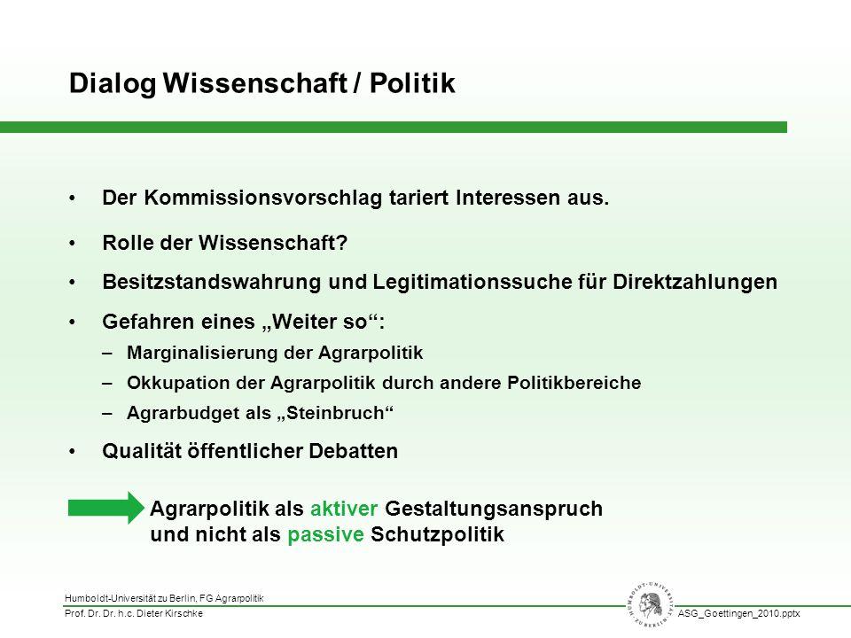 Humboldt-Universität zu Berlin, FG Agrarpolitik Prof. Dr. Dr. h.c. Dieter KirschkeASG_Goettingen_2010.pptx Der Kommissionsvorschlag tariert Interessen