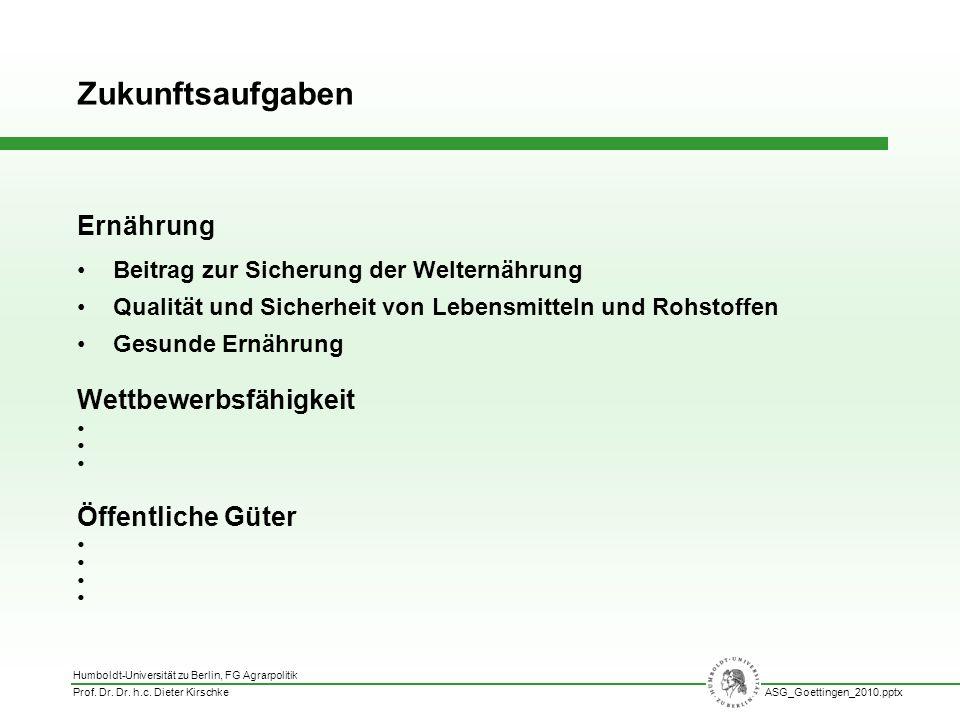 Humboldt-Universität zu Berlin, FG Agrarpolitik Prof. Dr. Dr. h.c. Dieter KirschkeASG_Goettingen_2010.pptx Ernährung Beitrag zur Sicherung der Weltern