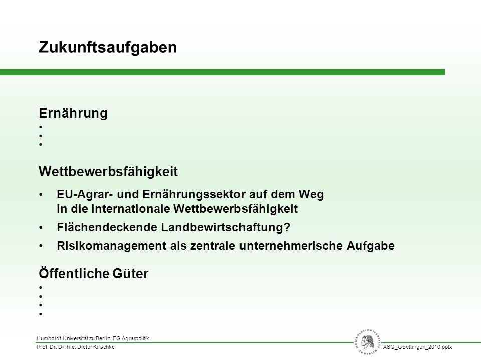 Humboldt-Universität zu Berlin, FG Agrarpolitik Prof. Dr. Dr. h.c. Dieter KirschkeASG_Goettingen_2010.pptx Ernährung Wettbewerbsfähigkeit EU-Agrar- un