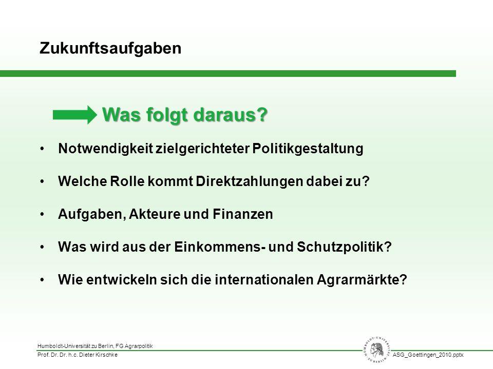 Humboldt-Universität zu Berlin, FG Agrarpolitik Prof. Dr. Dr. h.c. Dieter KirschkeASG_Goettingen_2010.pptx Notwendigkeit zielgerichteter Politikgestal