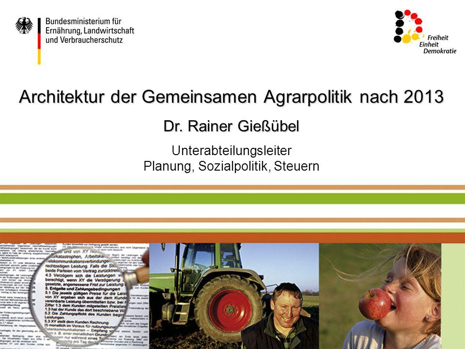 Mustertext Architektur der Gemeinsamen Agrarpolitik nach 2013 Dr. Rainer Gießübel Unterabteilungsleiter Planung, Sozialpolitik, Steuern