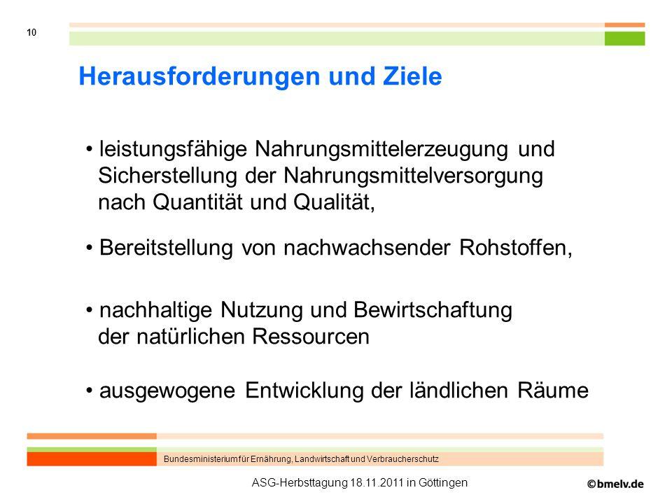 Bundesministerium für Ernährung, Landwirtschaft und Verbraucherschutz 10 ASG-Herbsttagung 18.11.2011 in Göttingen Herausforderungen und Ziele leistung