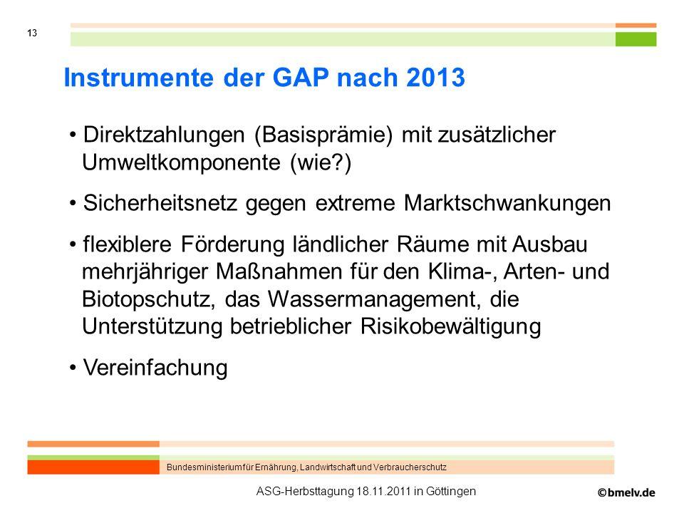 Bundesministerium für Ernährung, Landwirtschaft und Verbraucherschutz 13 ASG-Herbsttagung 18.11.2011 in Göttingen Instrumente der GAP nach 2013 Direkt
